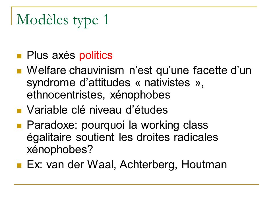 Modèles type 1 Plus axés politics Welfare chauvinism nest quune facette dun syndrome dattitudes « nativistes », ethnocentristes, xénophobes Variable c