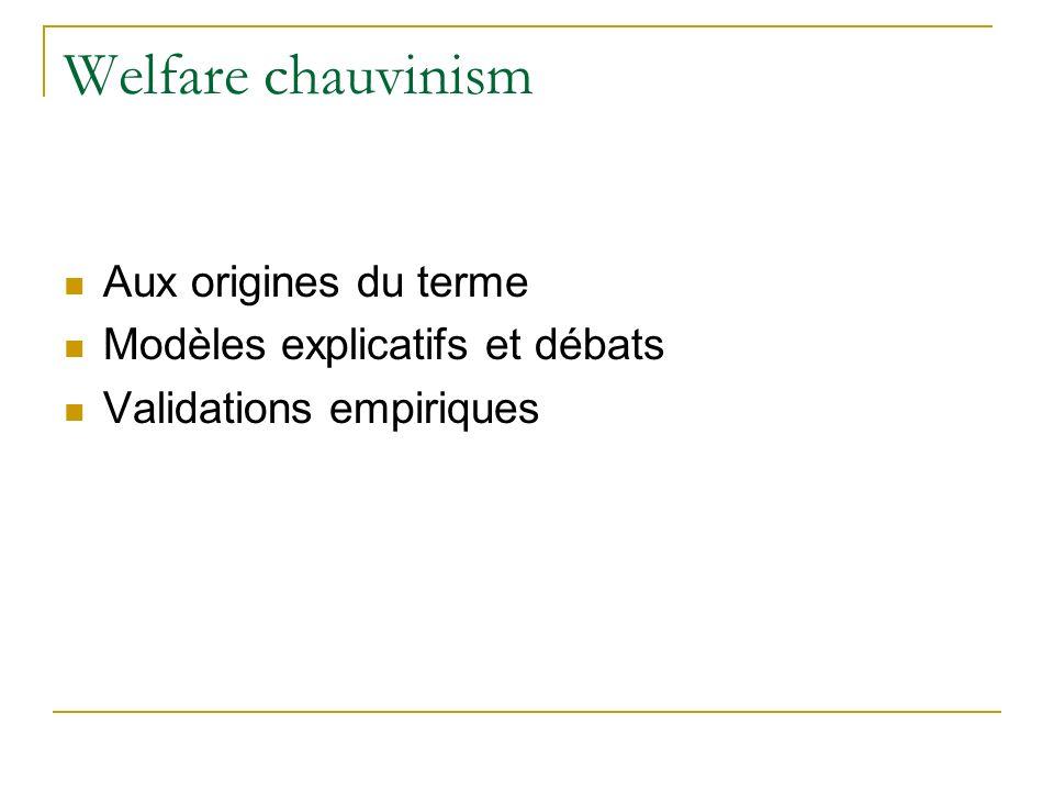 Welfare chauvinism Aux origines du terme Modèles explicatifs et débats Validations empiriques
