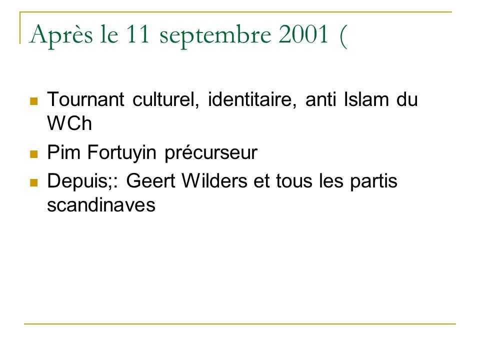 Après le 11 septembre 2001 ( Tournant culturel, identitaire, anti Islam du WCh Pim Fortuyin précurseur Depuis;: Geert Wilders et tous les partis scandinaves