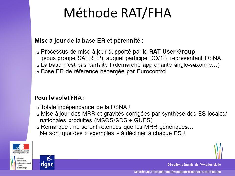Ministère de l'Écologie, du Développement durable et de lÉnergie Direction générale de lAviation civile Méthode RAT/FHA Mise à jour de la base ER et p