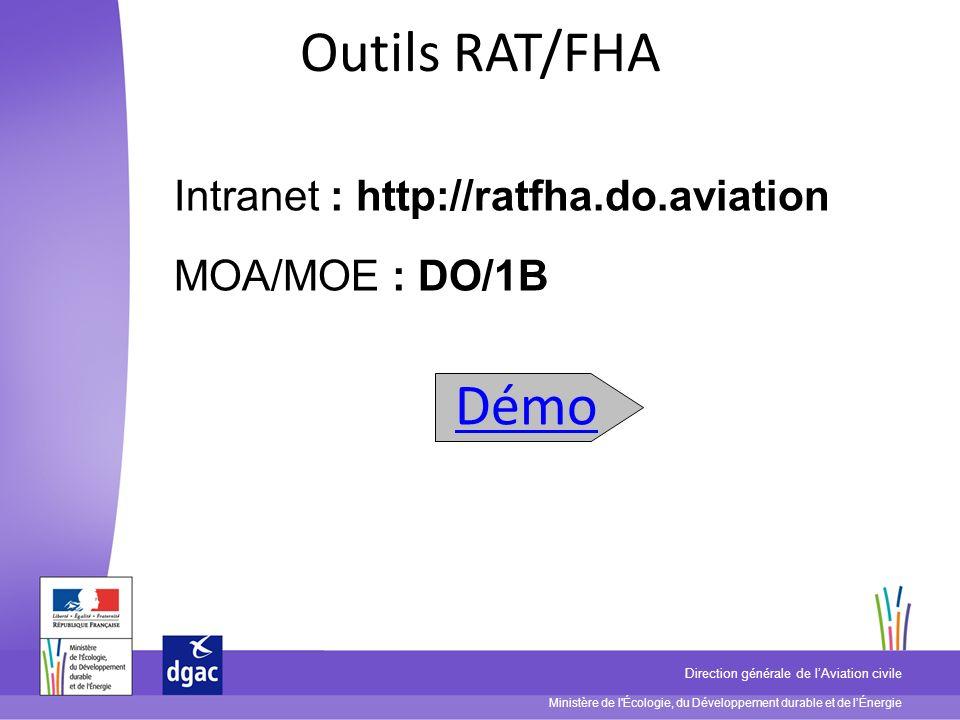 Ministère de l'Écologie, du Développement durable et de lÉnergie Direction générale de lAviation civile Outils RAT/FHA Intranet : http://ratfha.do.avi
