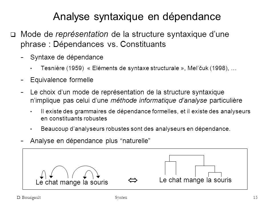 D. Bourigault Syntex 15 Analyse syntaxique en dépendance Mode de représentation de la structure syntaxique dune phrase : Dépendances vs. Constituants
