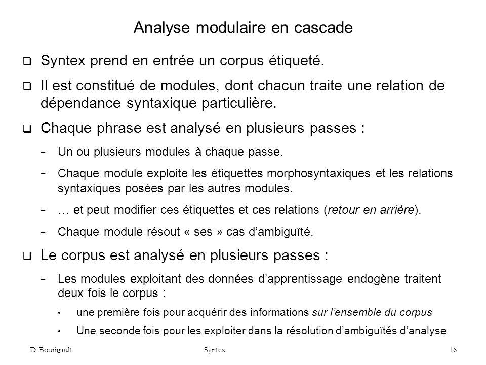 D.Bourigault Syntex 16 Analyse modulaire en cascade Syntex prend en entrée un corpus étiqueté.
