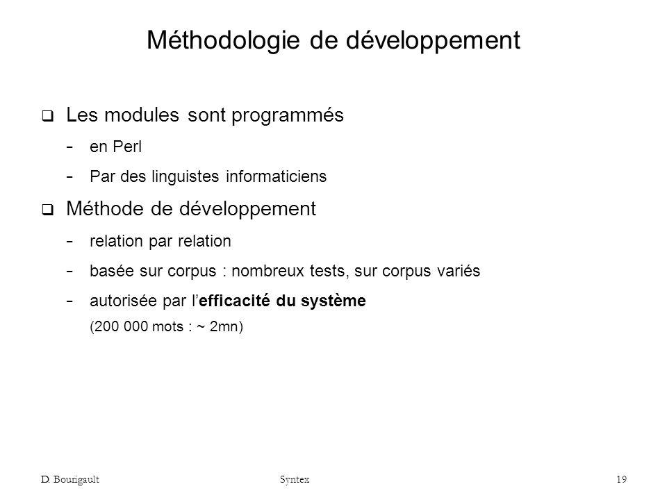 D. Bourigault Syntex 19 Méthodologie de développement Les modules sont programmés en Perl Par des linguistes informaticiens Méthode de développement r