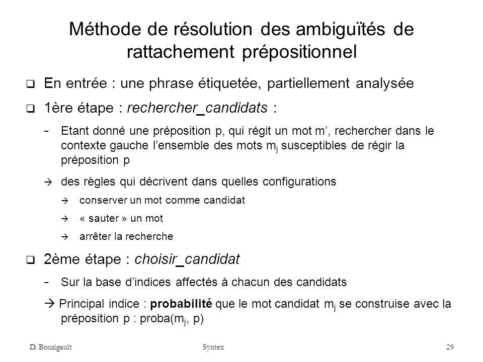 D. Bourigault Syntex 29 Méthode de résolution des ambiguïtés de rattachement prépositionnel En entrée : une phrase étiquetée, partiellement analysée 1