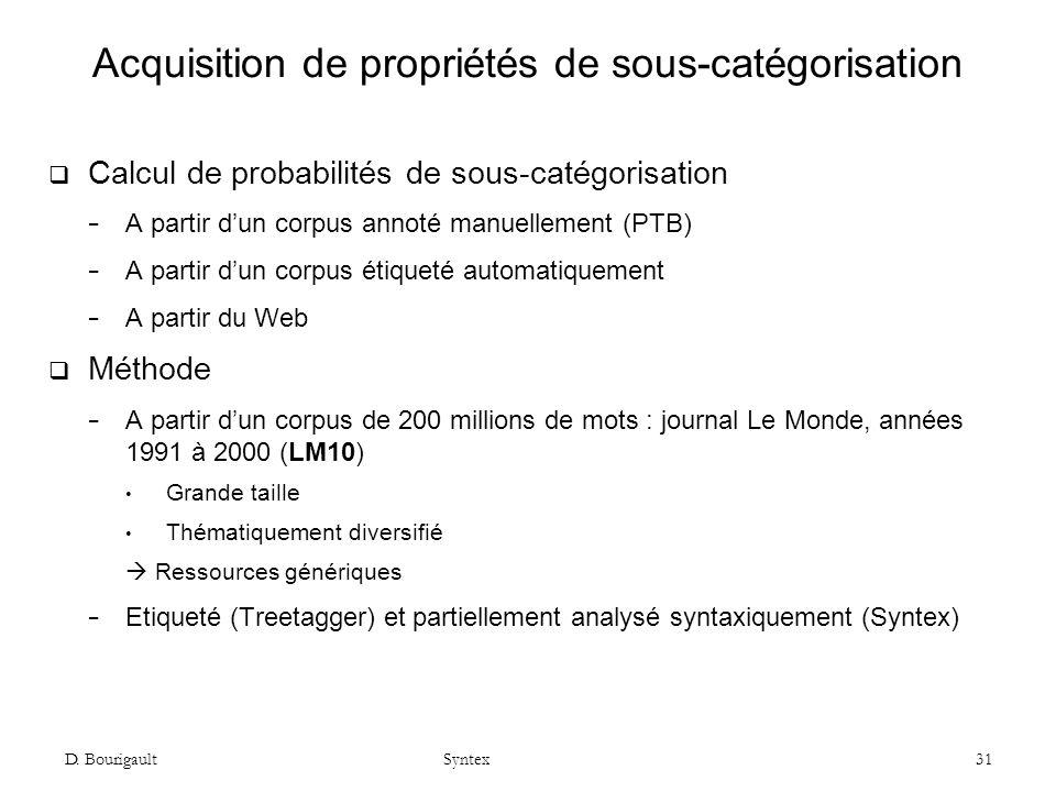 D. Bourigault Syntex 31 Acquisition de propriétés de sous-catégorisation Calcul de probabilités de sous-catégorisation A partir dun corpus annoté manu
