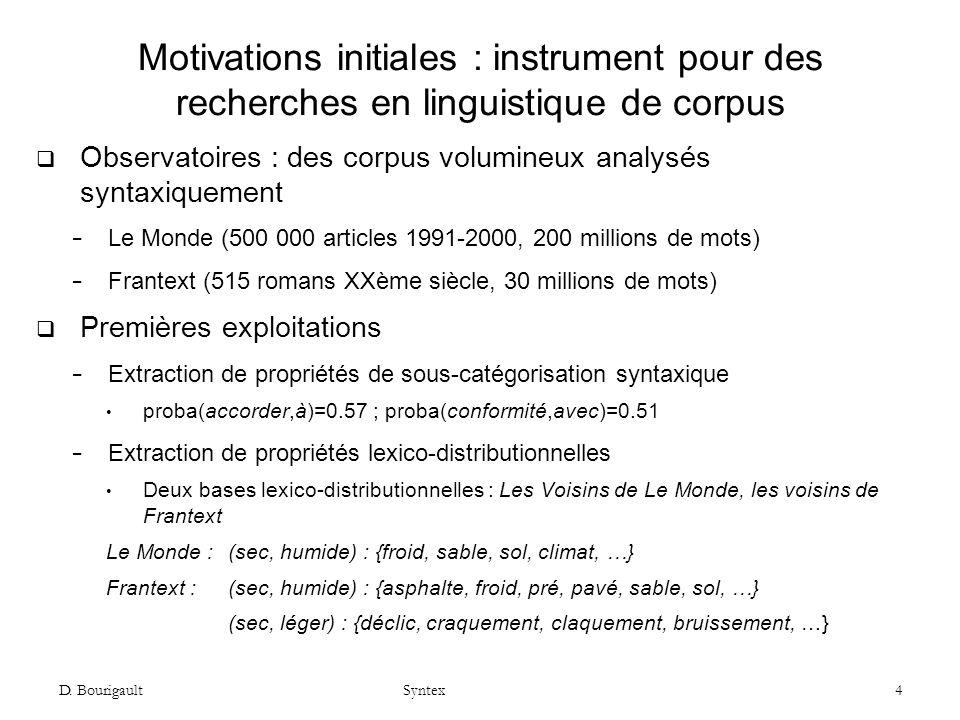 D. Bourigault Syntex 4 Motivations initiales : instrument pour des recherches en linguistique de corpus Observatoires : des corpus volumineux analysés