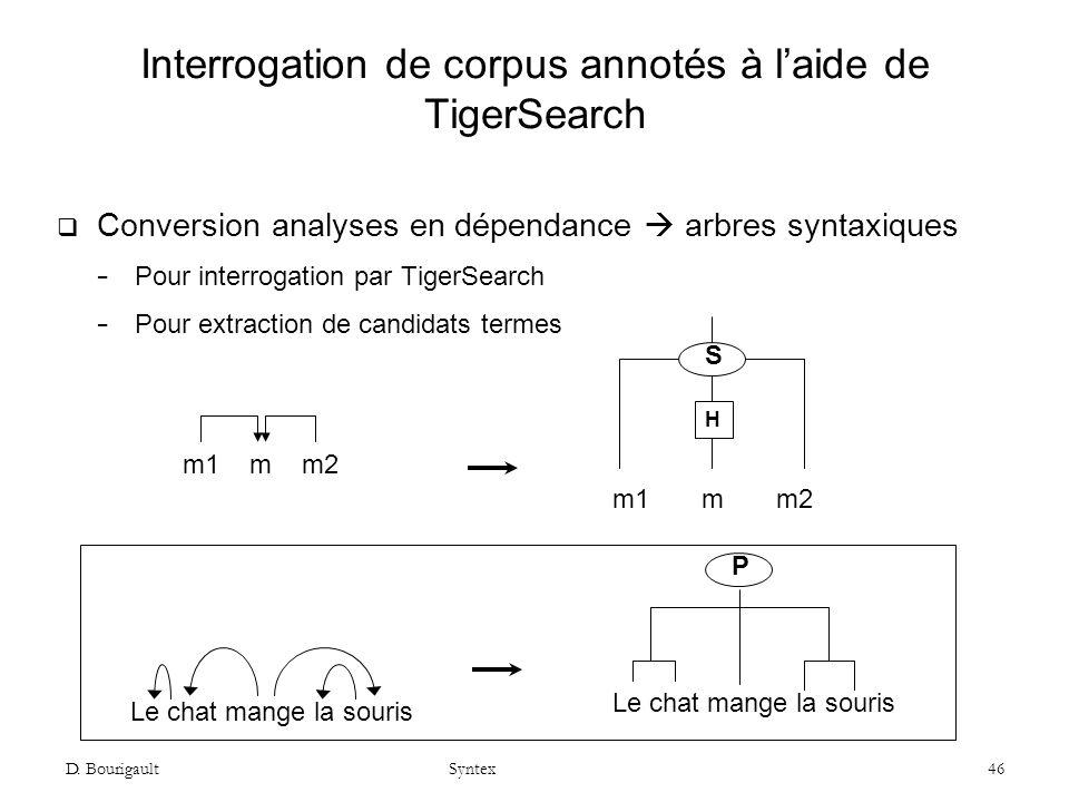 D. Bourigault Syntex 46 Interrogation de corpus annotés à laide de TigerSearch Conversion analyses en dépendance arbres syntaxiques Pour interrogation