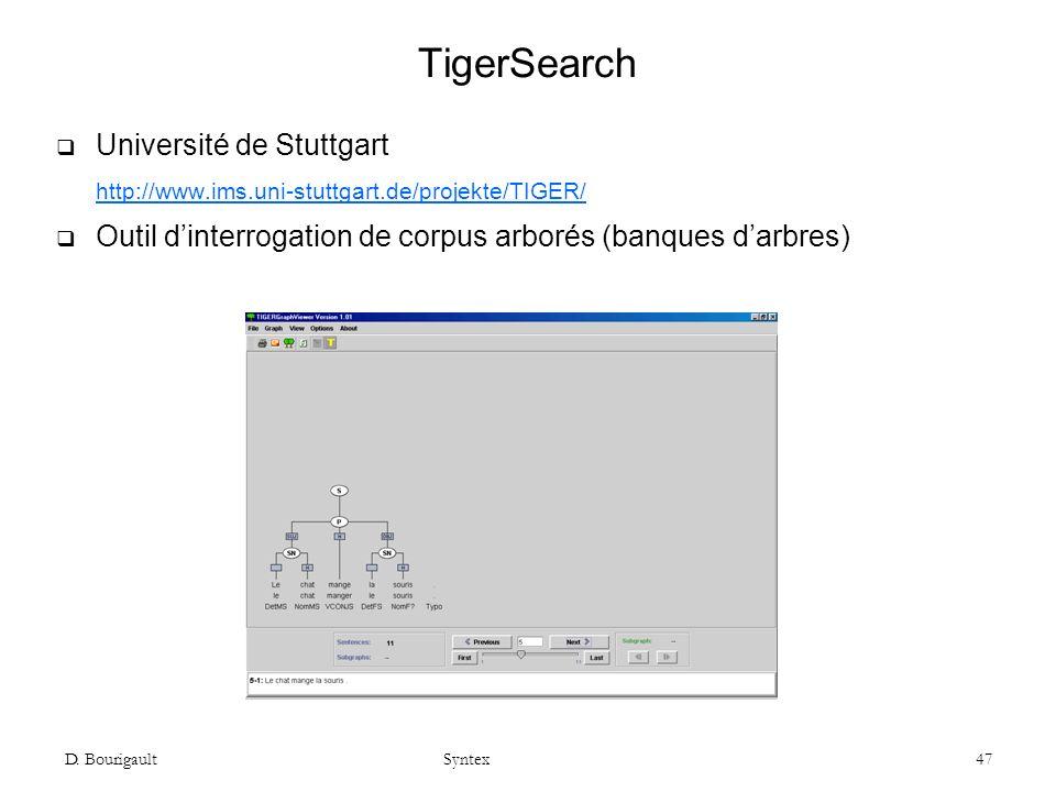 D. Bourigault Syntex 47 TigerSearch Université de Stuttgart http://www.ims.uni-stuttgart.de/projekte/TIGER/ Outil dinterrogation de corpus arborés (ba