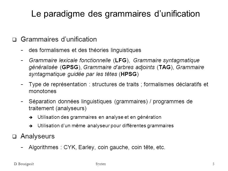 D. Bourigault Syntex 5 Le paradigme des grammaires dunification Grammaires dunification des formalismes et des théories linguistiques Grammaire lexica
