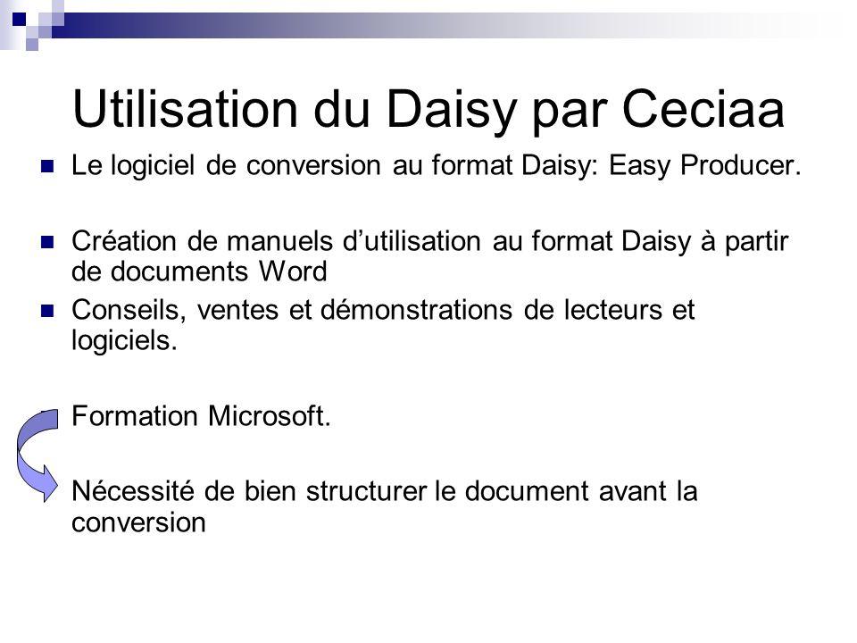 Utilisation du Daisy par Ceciaa Le logiciel de conversion au format Daisy: Easy Producer. Création de manuels dutilisation au format Daisy à partir de