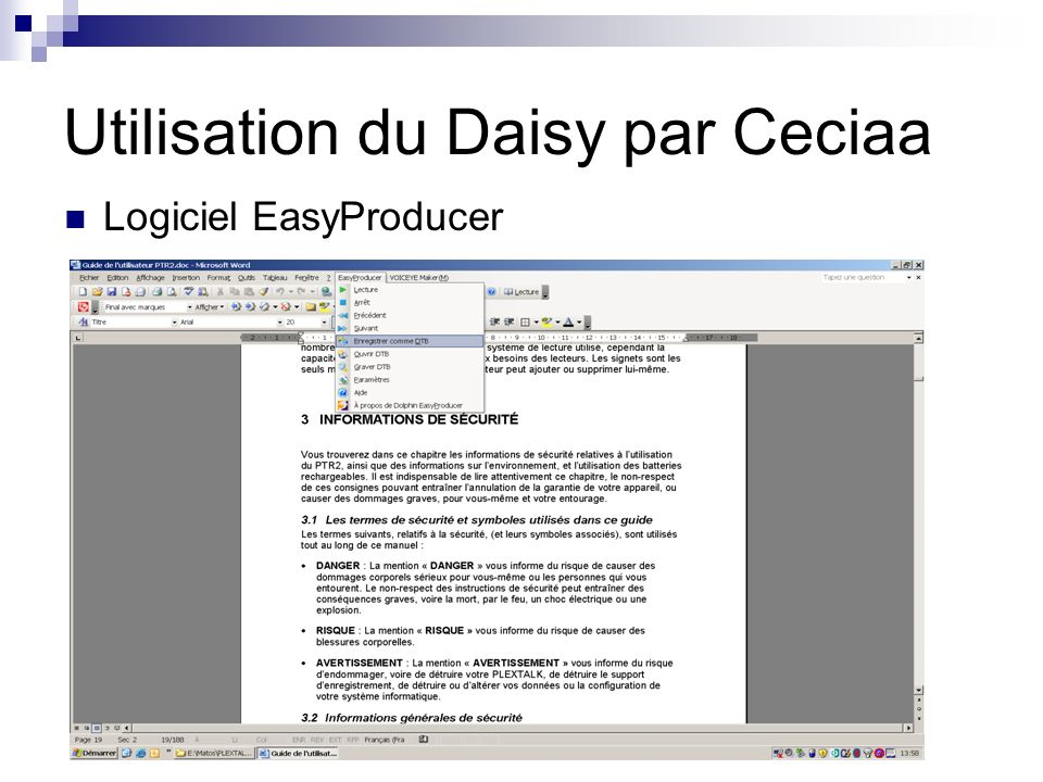Utilisation du Daisy par Ceciaa Logiciel EasyProducer