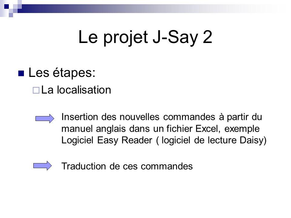 Les étapes: La localisation Le projet J-Say 2 Insertion des nouvelles commandes à partir du manuel anglais dans un fichier Excel, exemple Logiciel Eas