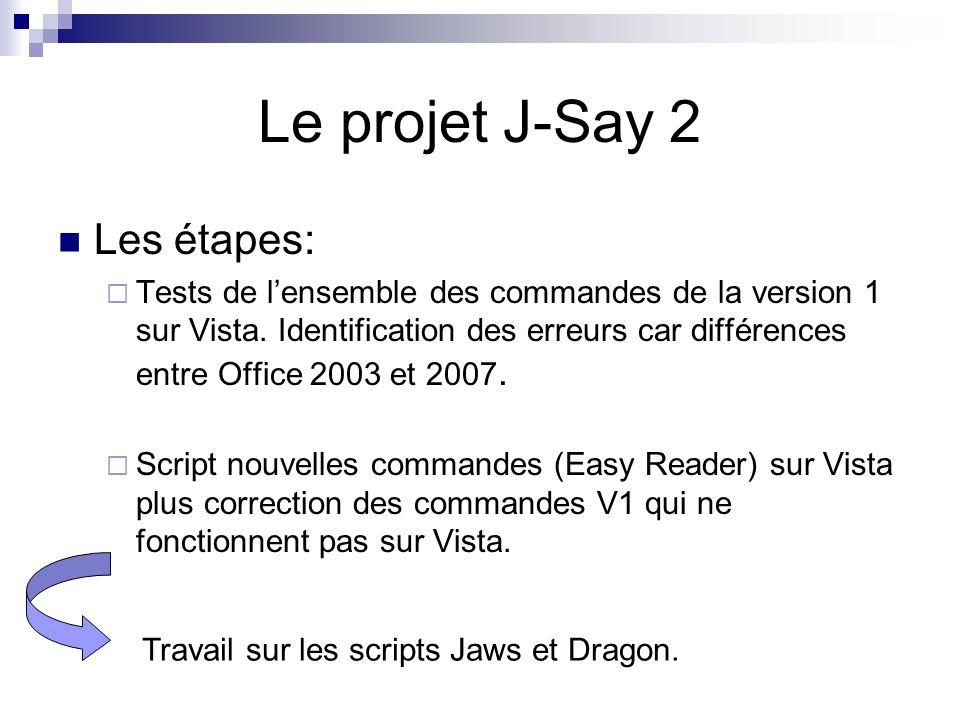 Les étapes: Tests de lensemble des commandes de la version 1 sur Vista. Identification des erreurs car différences entre Office 2003 et 2007. Script n
