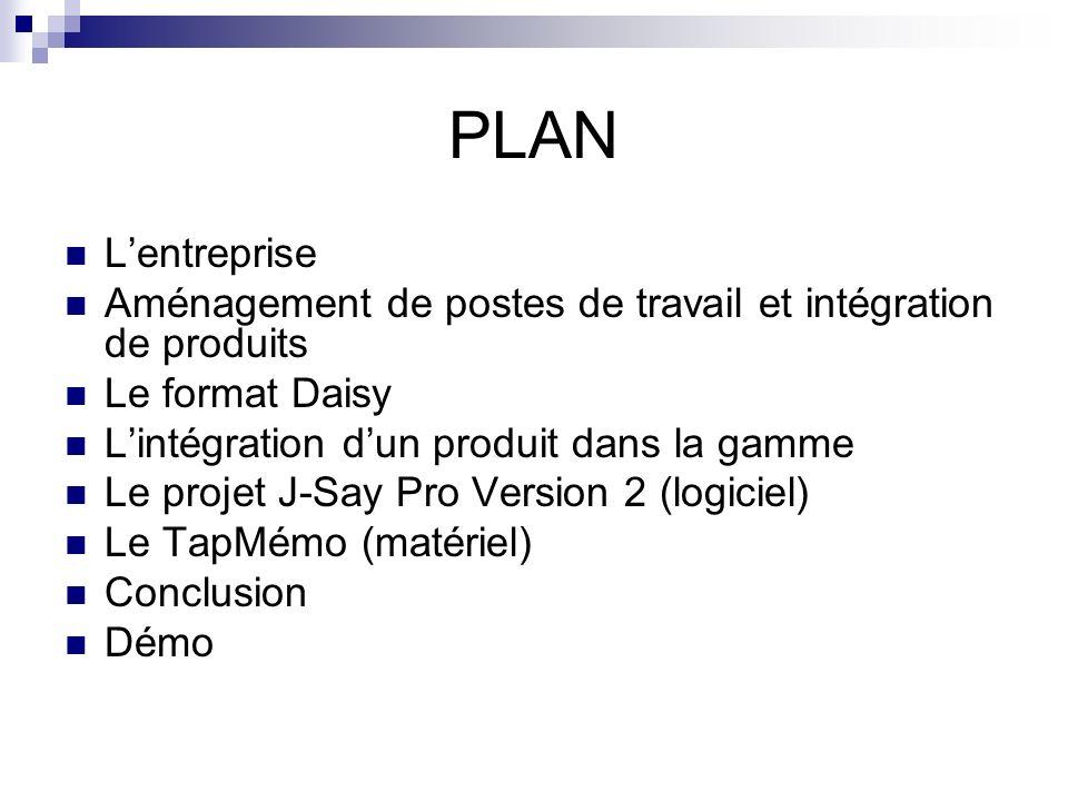 PLAN Lentreprise Aménagement de postes de travail et intégration de produits Le format Daisy Lintégration dun produit dans la gamme Le projet J-Say Pr