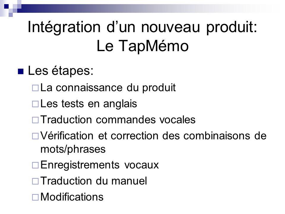 Intégration dun nouveau produit: Le TapMémo Les étapes: La connaissance du produit Les tests en anglais Traduction commandes vocales Vérification et c