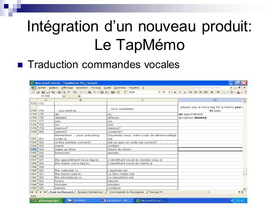 Traduction commandes vocales Intégration dun nouveau produit: Le TapMémo