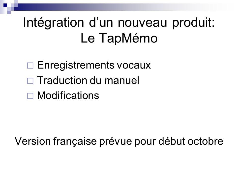 Enregistrements vocaux Traduction du manuel Modifications Version française prévue pour début octobre Intégration dun nouveau produit: Le TapMémo
