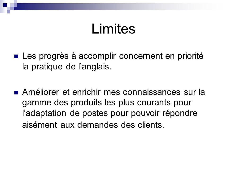 Limites Les progrès à accomplir concernent en priorité la pratique de langlais. Améliorer et enrichir mes connaissances sur la gamme des produits les