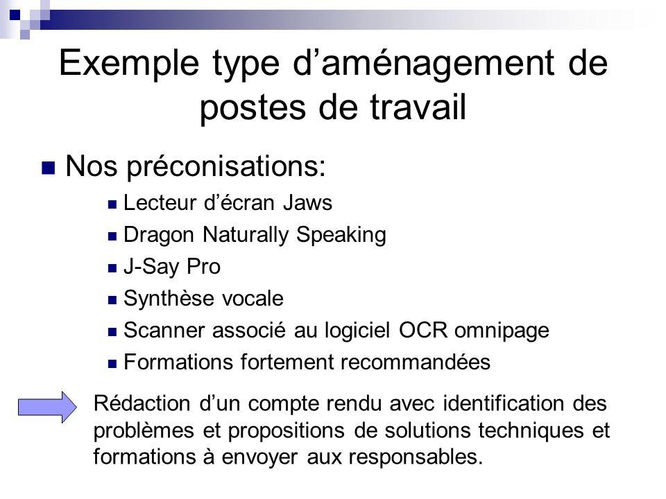 Nos préconisations: Lecteur décran Jaws Dragon Naturally Speaking J-Say Pro Synthèse vocale Scanner associé au logiciel OCR omnipage Formations fortem