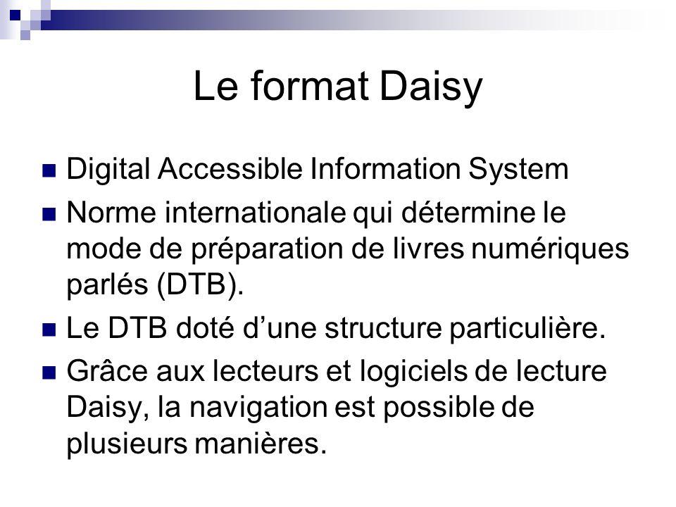 Le format Daisy Digital Accessible Information System Norme internationale qui détermine le mode de préparation de livres numériques parlés (DTB). Le