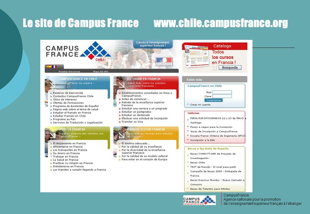 CampusFrance Le site de Campus France www.chile.campusfrance.org CampusFrance Agence nationale pour la promotion de lenseignement supérieur français à