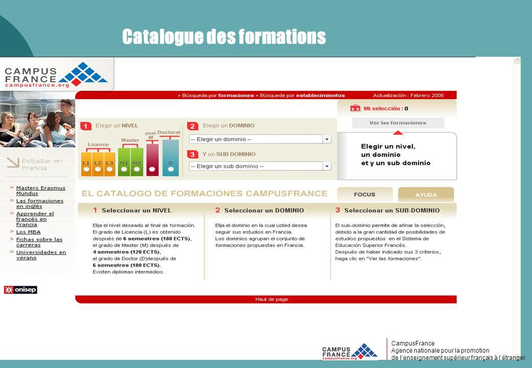 CampusFrance CampusFrance Agence nationale pour la promotion de lenseignement supérieur français à létranger Catalogue des formations CampusFrance Age