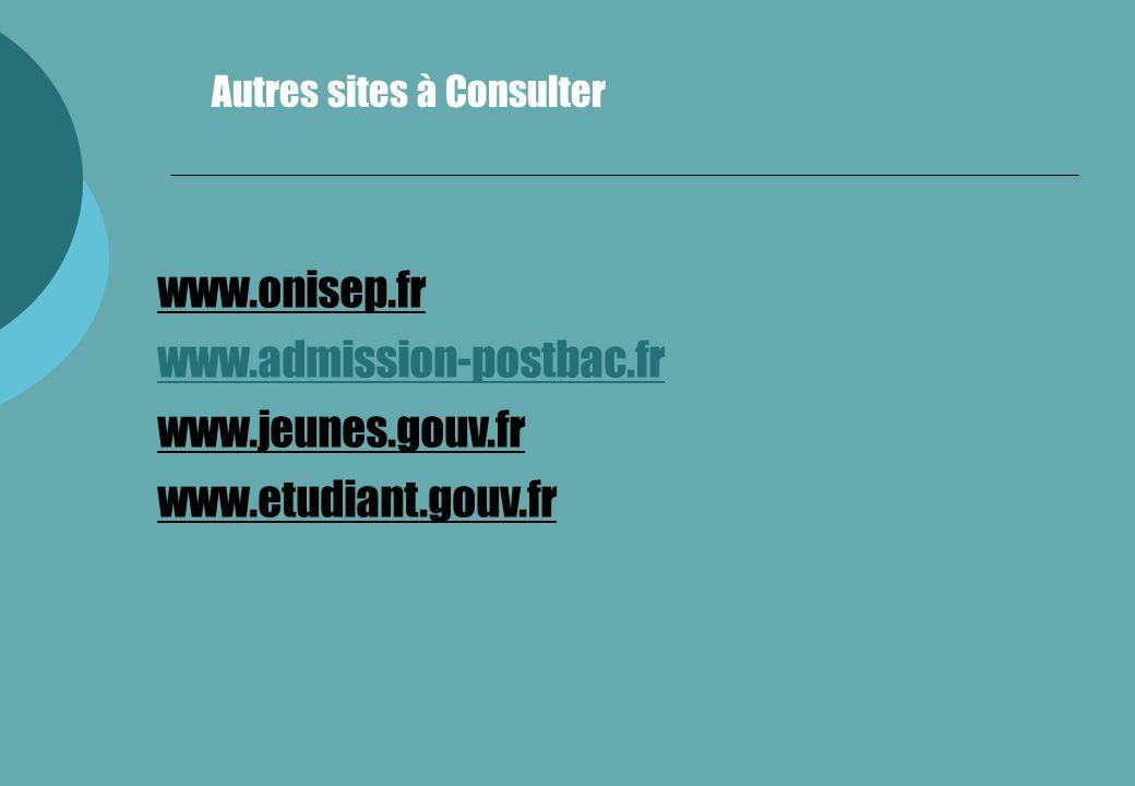 www.onisep.fr www.admission-postbac.fr www.jeunes.gouv.fr www.etudiant.gouv.fr Autres sites à Consulter