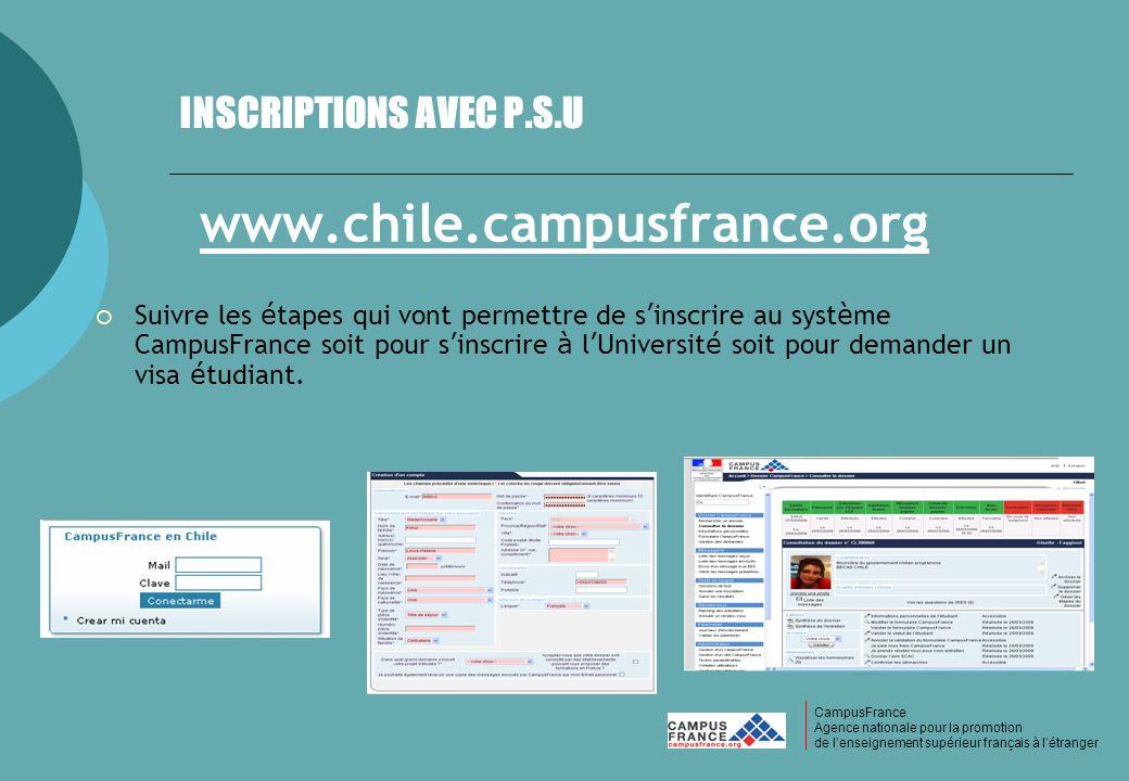 CampusFrance CampusFrance Agence nationale pour la promotion de lenseignement supérieur français à létranger INSCRIPTIONS AVEC P.S.U www.chile.campusf