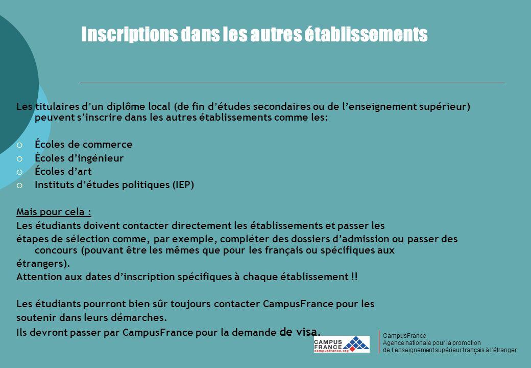 CampusFrance CampusFrance Agence nationale pour la promotion de lenseignement supérieur français à létranger Inscriptions dans les autres établissemen
