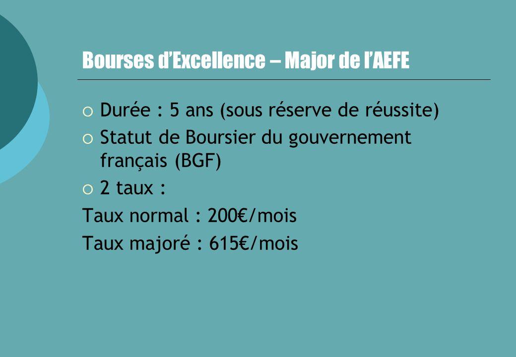 Bourses dExcellence – Major de lAEFE Durée : 5 ans (sous réserve de réussite) Statut de Boursier du gouvernement français (BGF) 2 taux : Taux normal :