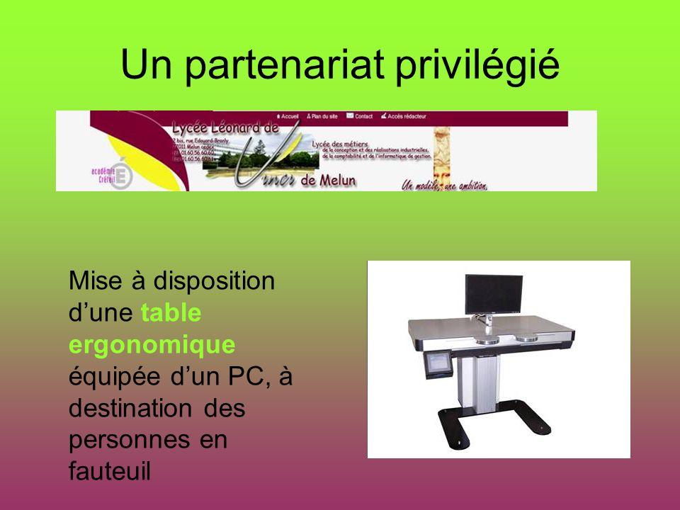Un partenariat privilégié Mise à disposition dune table ergonomique équipée dun PC, à destination des personnes en fauteuil