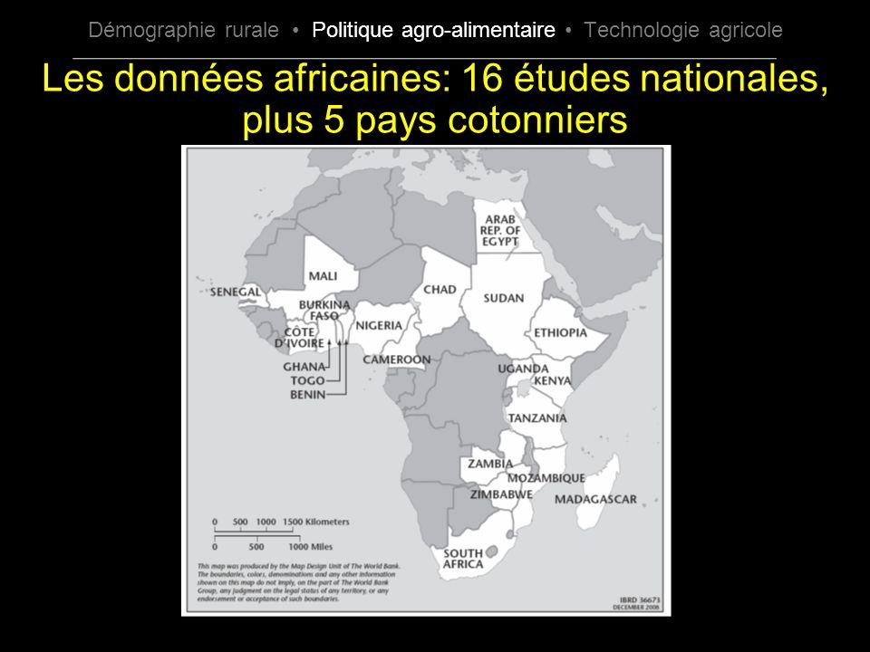 Les données africaines: 16 études nationales, plus 5 pays cotonniers Démographie rurale Politique agro-alimentaire Technologie agricole