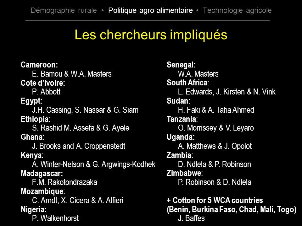 Les chercheurs impliqués Cameroon: E. Bamou & W.A. Masters Cote dIvoire: P. Abbott Egypt: J.H. Cassing, S. Nassar & G. Siam Ethiopia : S. Rashid M. As