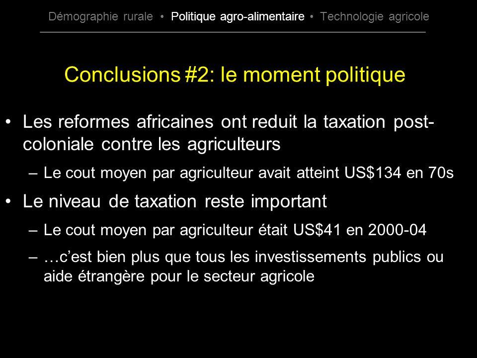 Les reformes africaines ont reduit la taxation post- coloniale contre les agriculteurs –Le cout moyen par agriculteur avait atteint US$134 en 70s Le n