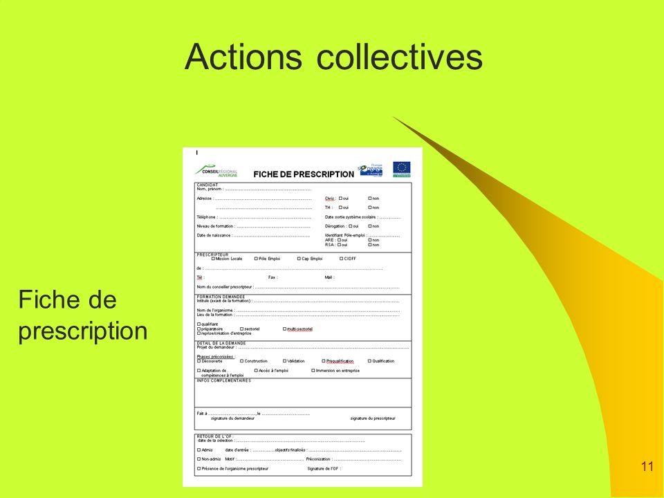 11 Actions collectives Fiche de prescription
