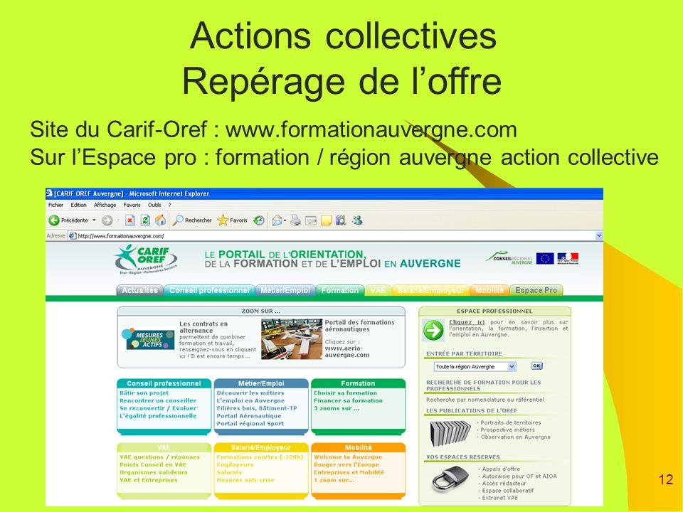 12 Site du Carif-Oref : www.formationauvergne.com Sur lEspace pro : formation / région auvergne action collective Actions collectives Repérage de loff