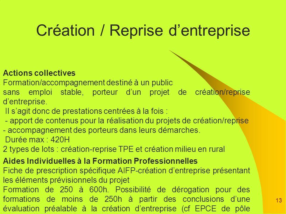 13 Création / Reprise dentreprise Actions collectives Formation/accompagnement destiné à un public sans emploi stable, porteur dun projet de création/