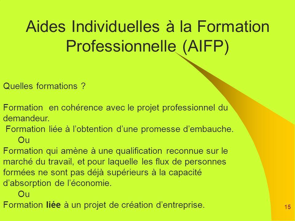 15 Aides Individuelles à la Formation Professionnelle (AIFP) Quelles formations ? Formation en cohérence avec le projet professionnel du demandeur. Fo