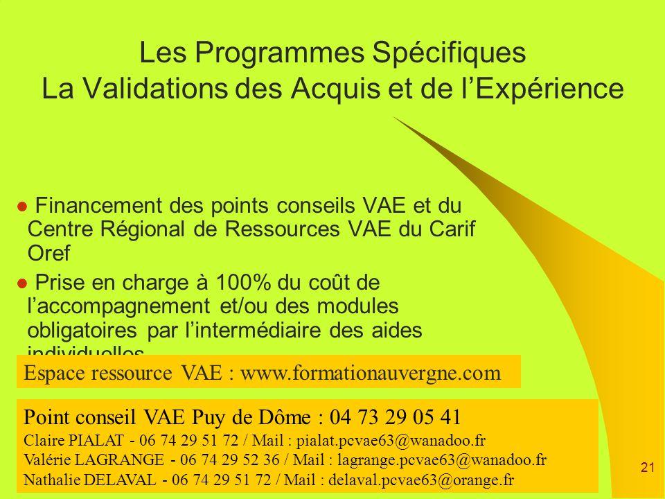 21 Financement des points conseils VAE et du Centre Régional de Ressources VAE du Carif Oref Prise en charge à 100% du coût de laccompagnement et/ou d