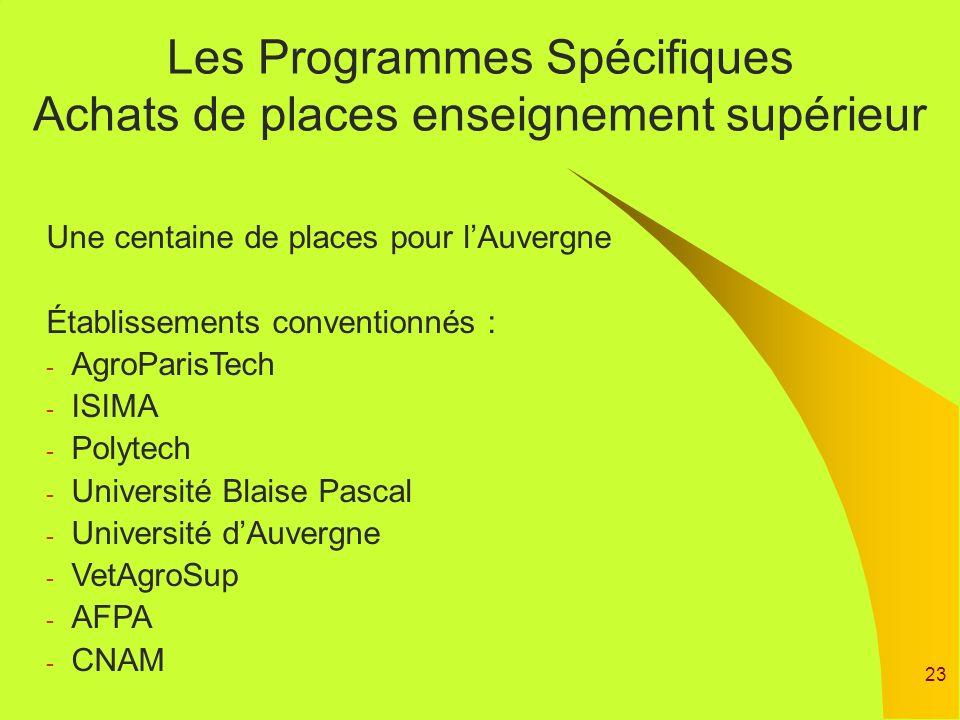 23 Les Programmes Spécifiques Achats de places enseignement supérieur Une centaine de places pour lAuvergne Établissements conventionnés : - AgroParis