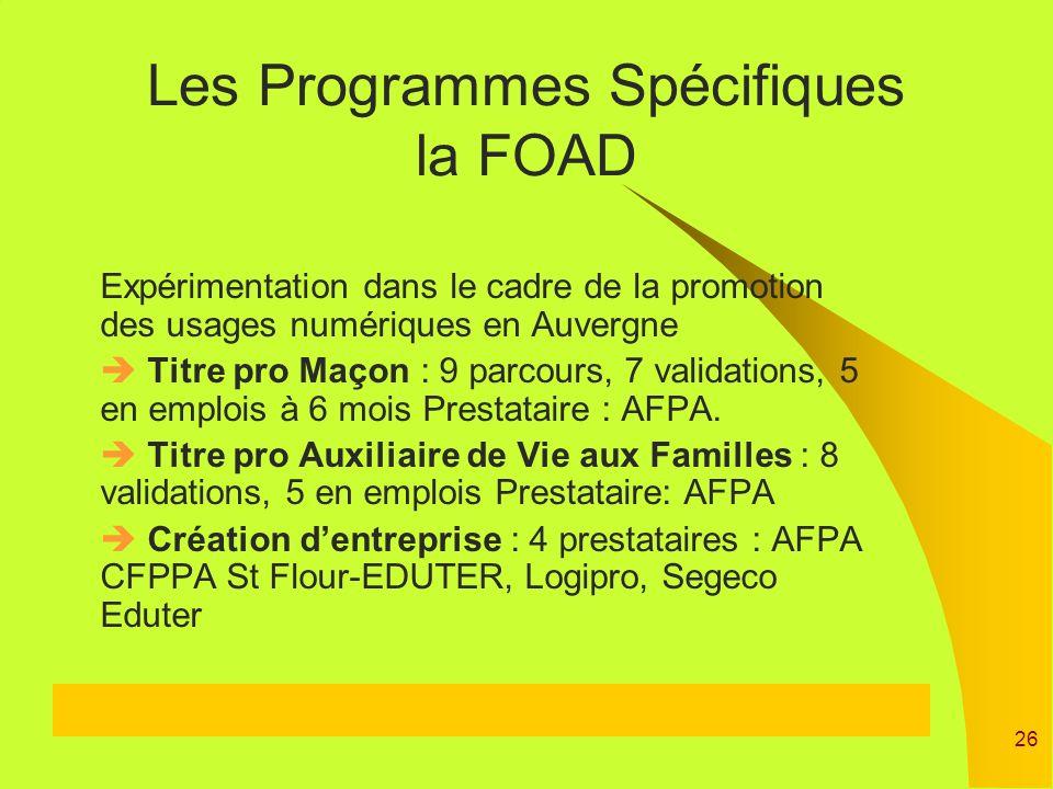 26 Expérimentation dans le cadre de la promotion des usages numériques en Auvergne Titre pro Maçon : 9 parcours, 7 validations, 5 en emplois à 6 mois
