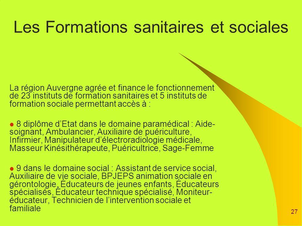 27 Les Formations sanitaires et sociales La région Auvergne agrée et finance le fonctionnement de 23 instituts de formation sanitaires et 5 instituts