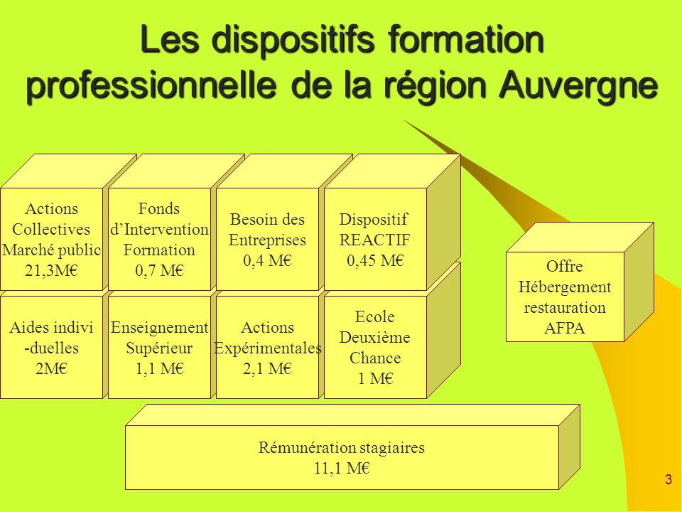 3 Rémunération stagiaires 11,1 M Aides indivi -duelles 2M Les dispositifs formation professionnelle de la région Auvergne Enseignement Supérieur 1,1 M