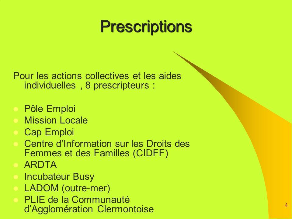 4Prescriptions Pour les actions collectives et les aides individuelles, 8 prescripteurs : Pôle Emploi Mission Locale Cap Emploi Centre dInformation su