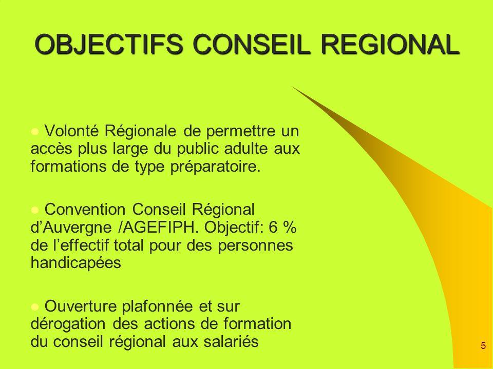 5 OBJECTIFS CONSEIL REGIONAL Volonté Régionale de permettre un accès plus large du public adulte aux formations de type préparatoire. Convention Conse