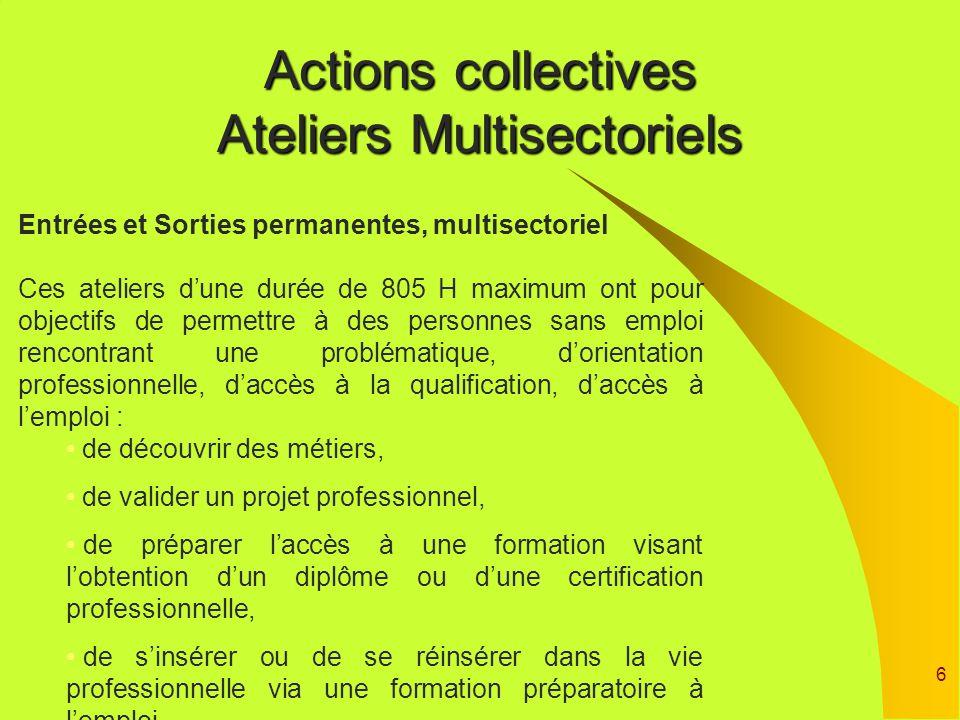 6 Actions collectives Ateliers Multisectoriels Entrées et Sorties permanentes, multisectoriel Ces ateliers dune durée de 805 H maximum ont pour object