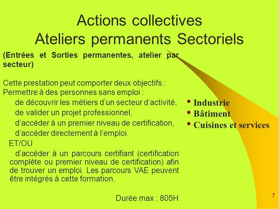 7 Actions collectives Ateliers permanents Sectoriels (Entrées et Sorties permanentes, atelier par secteur) Cette prestation peut comporter deux object