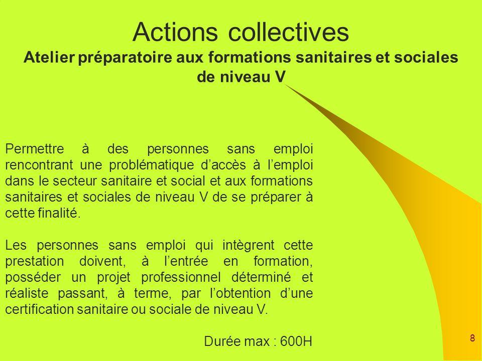 8 Actions collectives Atelier préparatoire aux formations sanitaires et sociales de niveau V Permettre à des personnes sans emploi rencontrant une pro