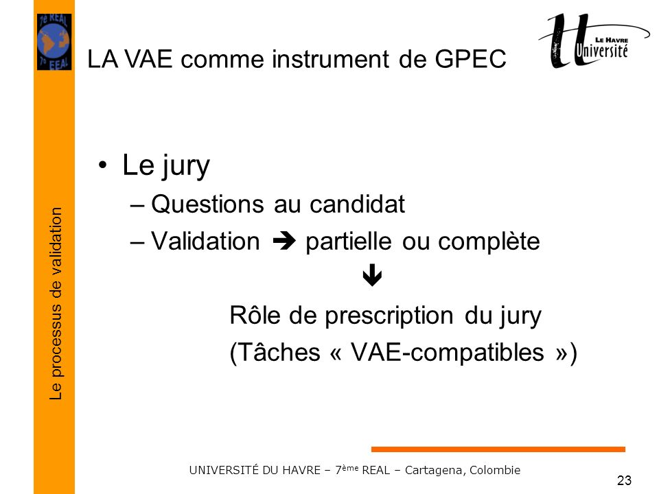 LA VAE comme instrument de GPEC Le processus de validation UNIVERSITÉ DU HAVRE – 7 ème REAL – Cartagena, Colombie 23 Le jury –Questions au candidat –V